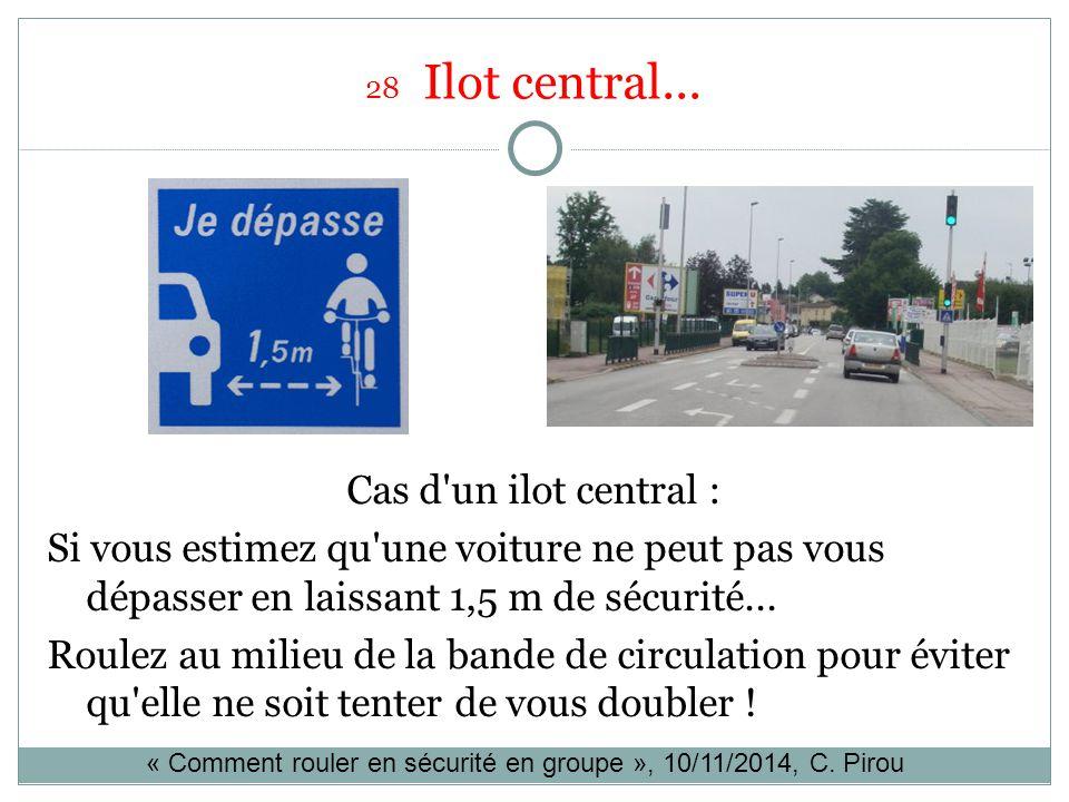 28 Ilot central... Cas d un ilot central : Si vous estimez qu une voiture ne peut pas vous dépasser en laissant 1,5 m de sécurité...
