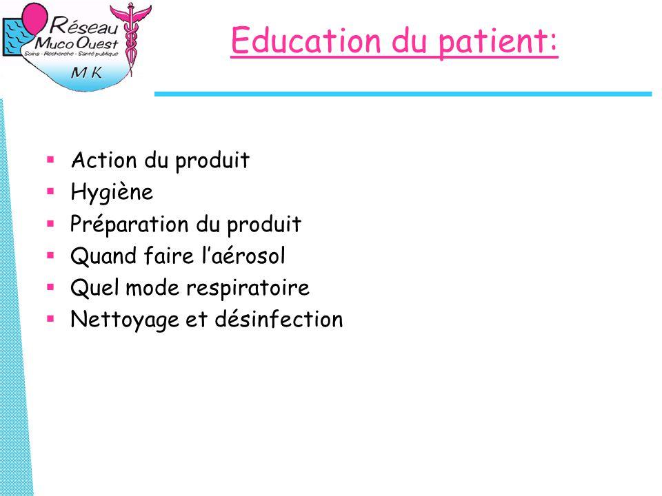 Education du patient: Action du produit Hygiène Préparation du produit