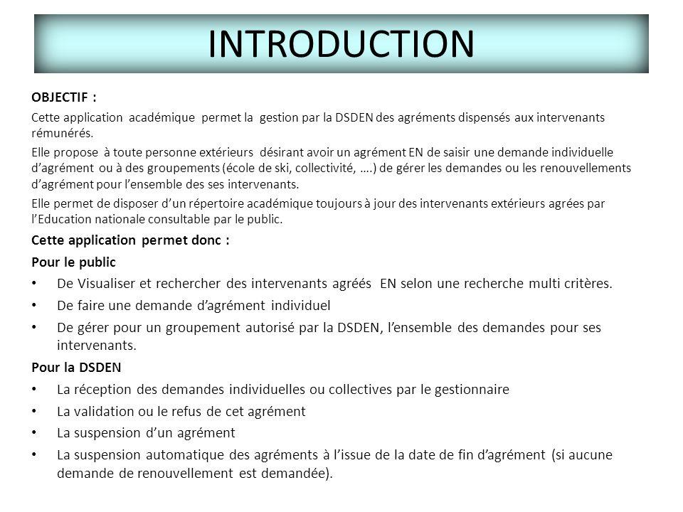 INTRODUCTION OBJECTIF : Cette application permet donc : Pour le public