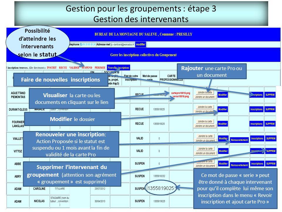 Gestion pour les groupements : étape 3 Gestion des intervenants