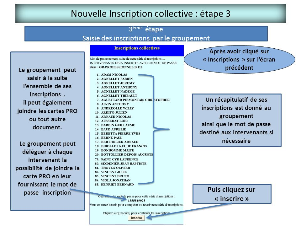 Nouvelle Inscription collective : étape 3