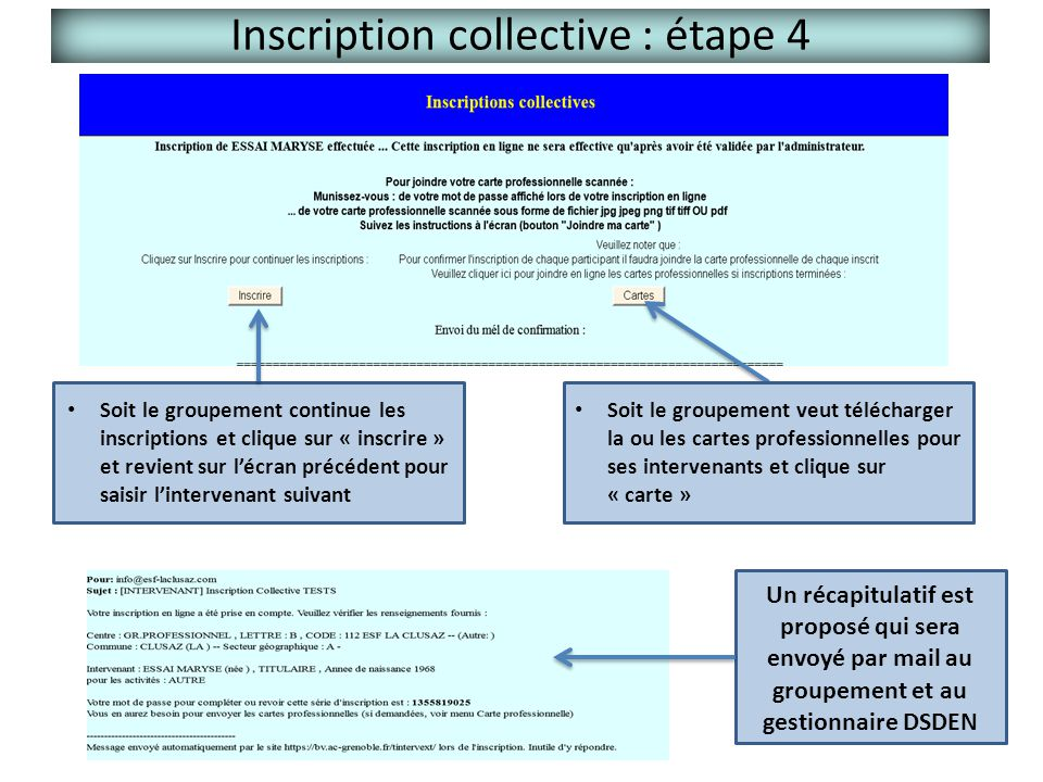 Inscription collective : étape 4