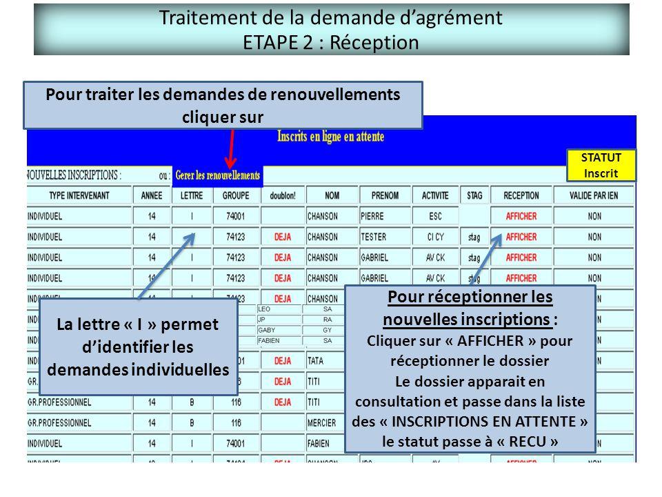 Traitement de la demande d'agrément ETAPE 2 : Réception