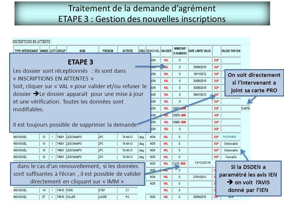 Traitement de la demande d'agrément ETAPE 3 : Gestion des nouvelles inscriptions