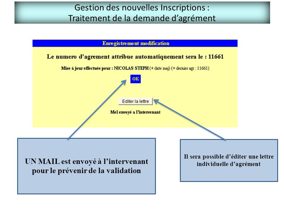 Gestion des nouvelles Inscriptions : Traitement de la demande d'agrément