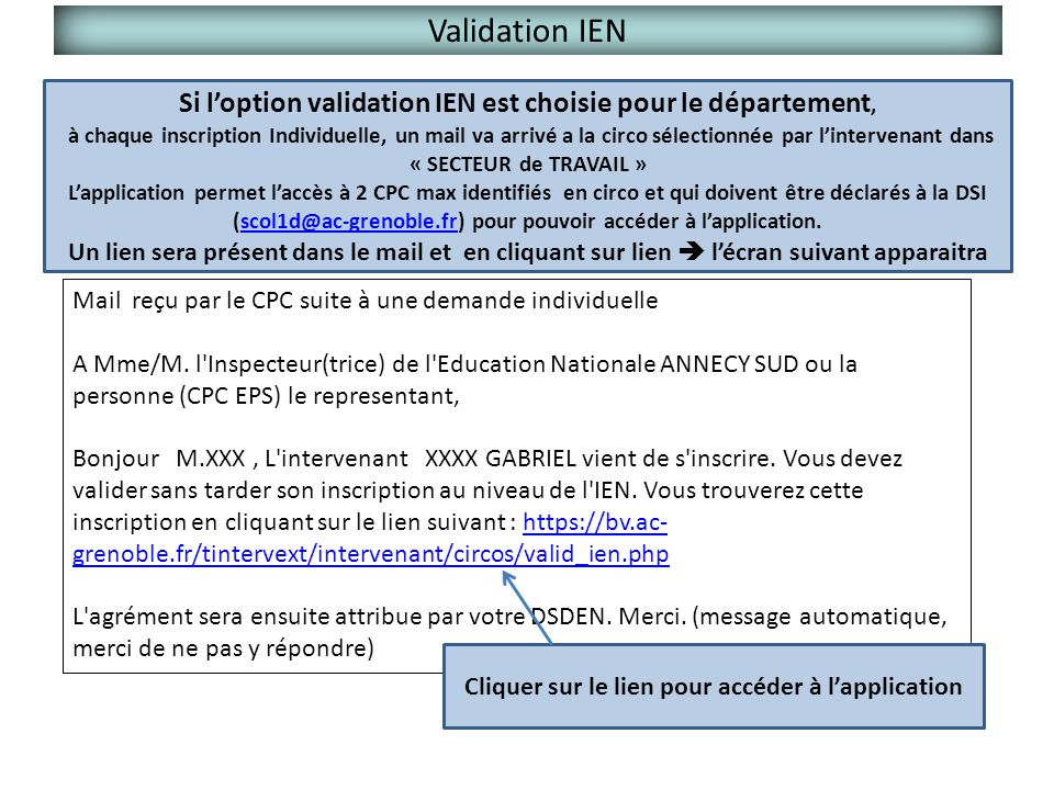 Validation IEN Si l'option validation IEN est choisie pour le département,
