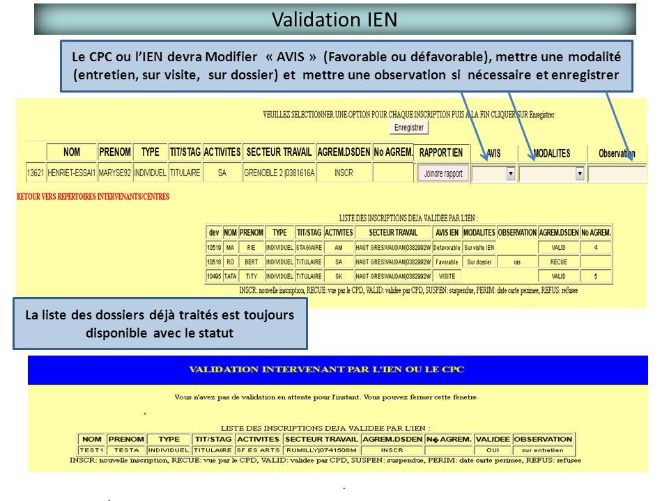 Validation IEN