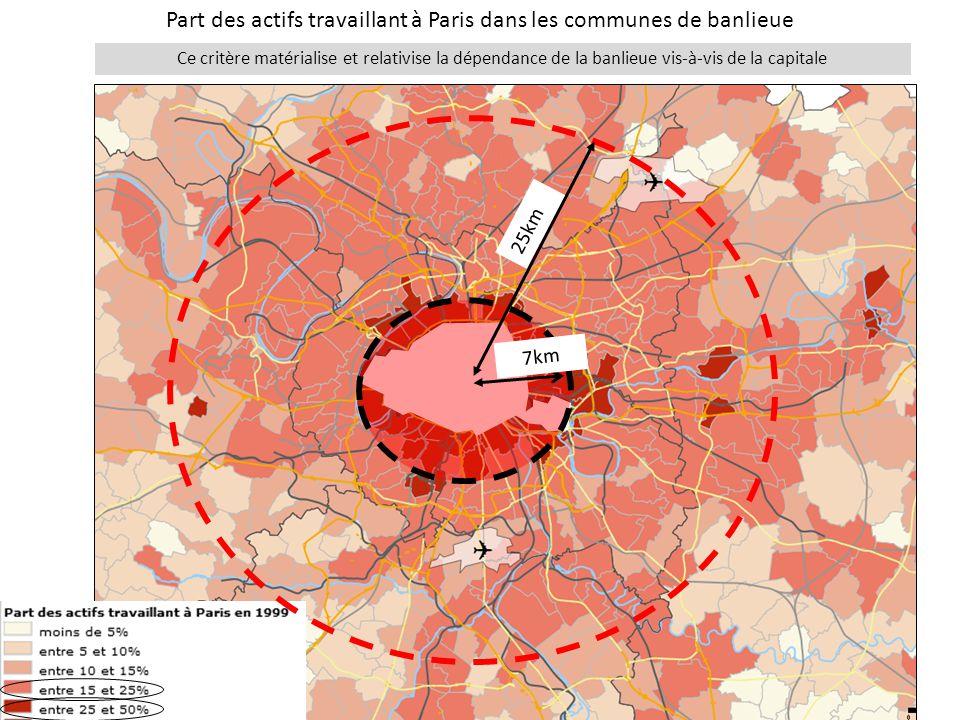 Part des actifs travaillant à Paris dans les communes de banlieue