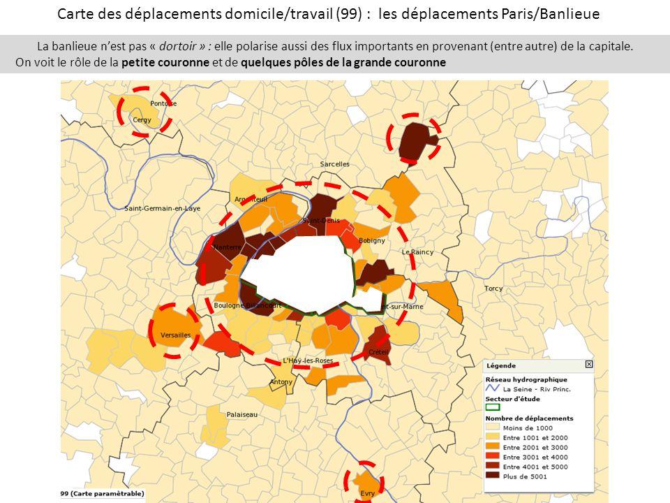 Carte des déplacements domicile/travail (99) : les déplacements Paris/Banlieue