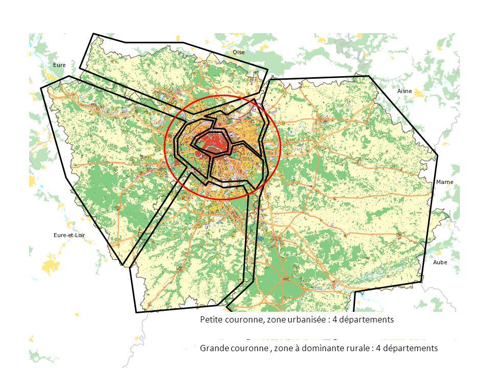 Petite couronne, zone urbanisée : 4 départements