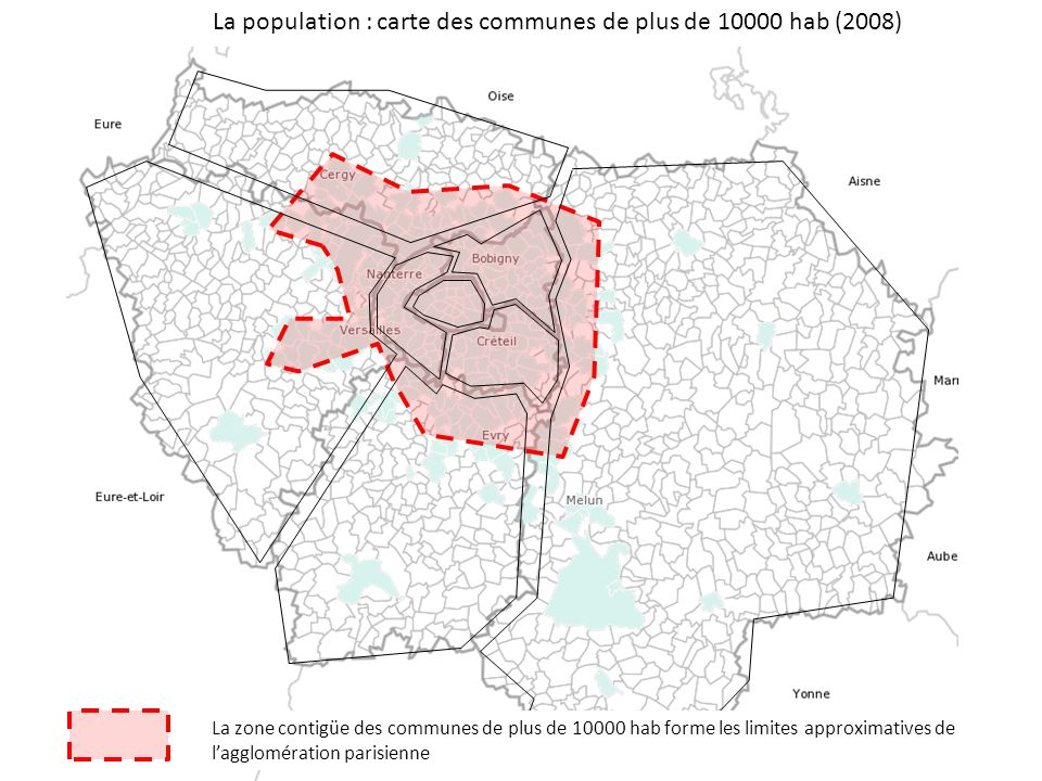 La population : carte des communes de plus de 10000 hab (2008)