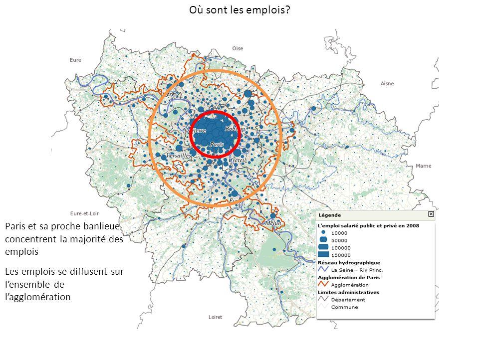 Où sont les emplois. Paris et sa proche banlieue concentrent la majorité des emplois.