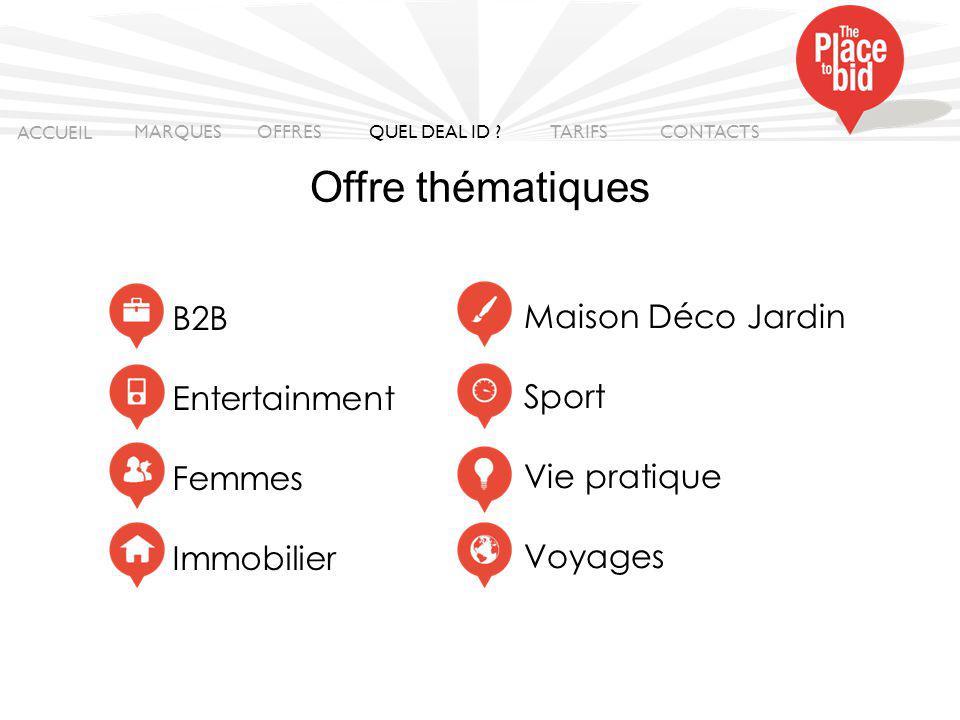 Offre thématiques B2B Maison Déco Jardin Entertainment Sport Femmes