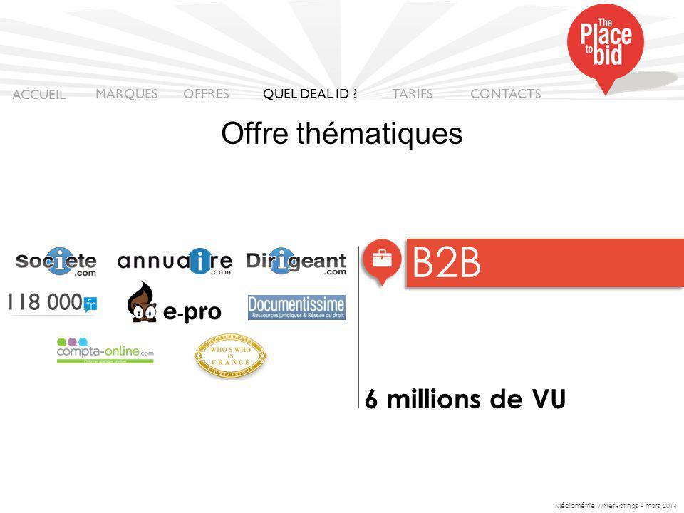 B2B Offre thématiques 6 millions de VU ACCUEIL MARQUES OFFRES