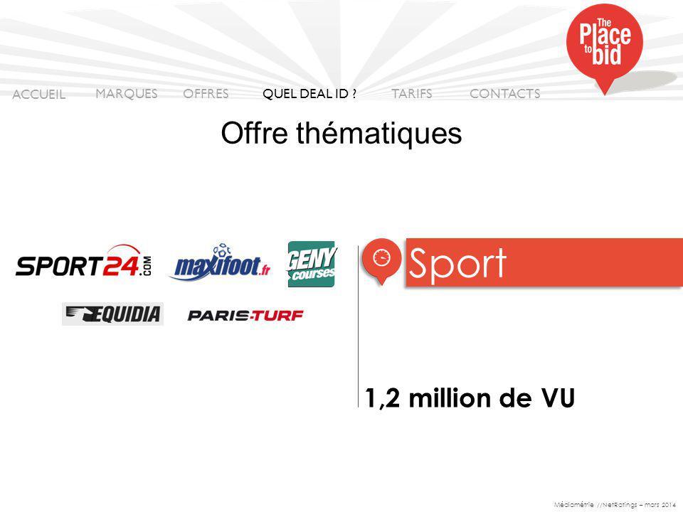 Sport Offre thématiques 1,2 million de VU ACCUEIL MARQUES OFFRES