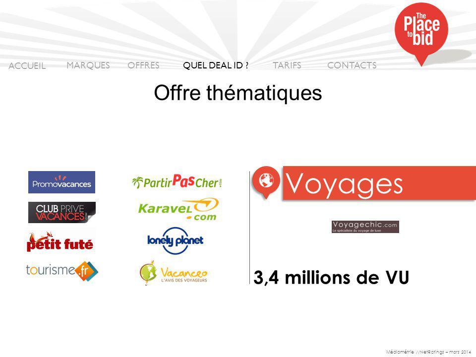 VOYAGE Voyages Offre thématiques 3,4 millions de VU ACCUEIL MARQUES