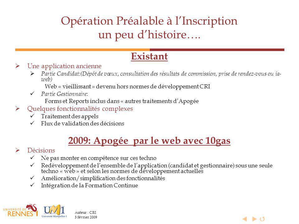Opération Préalable à l'Inscription un peu d'histoire….