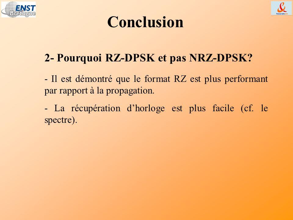 Conclusion 2- Pourquoi RZ-DPSK et pas NRZ-DPSK