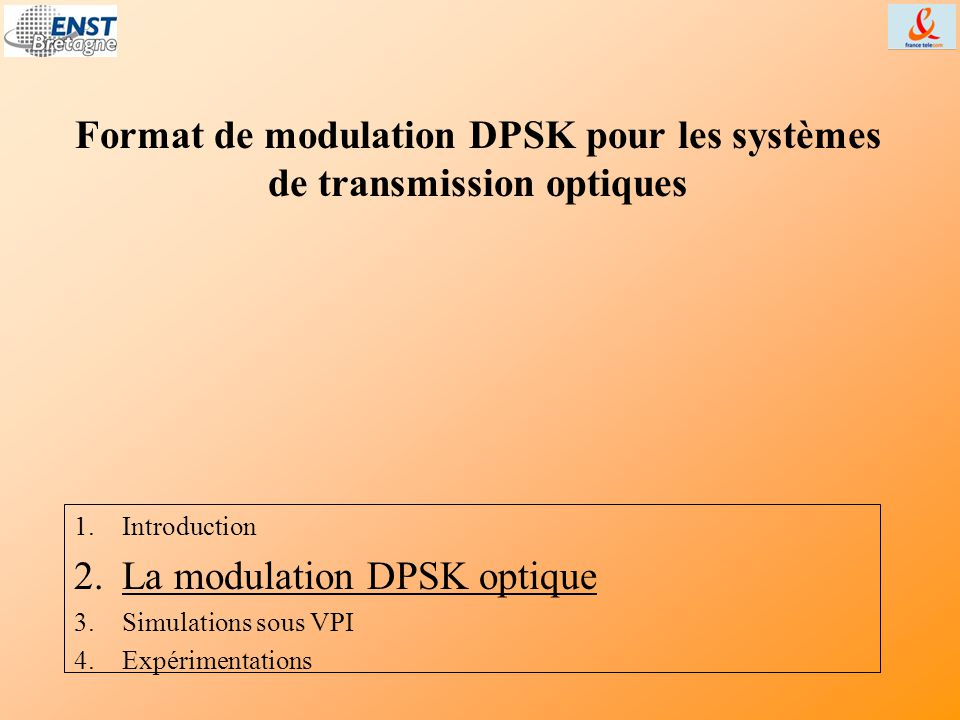 Format de modulation DPSK pour les systèmes de transmission optiques