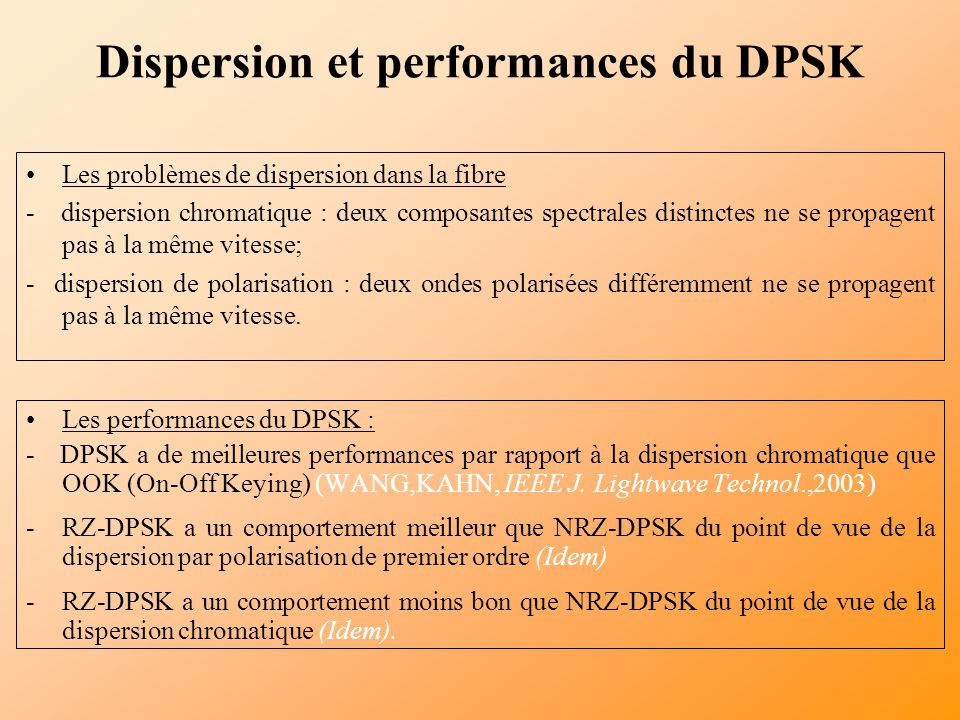 Dispersion et performances du DPSK