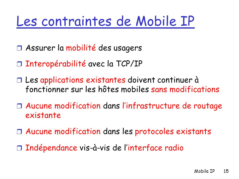Les contraintes de Mobile IP