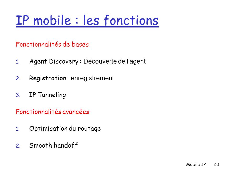 IP mobile : les fonctions