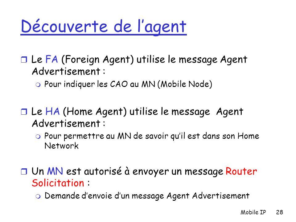 Découverte de l'agent Le FA (Foreign Agent) utilise le message Agent Advertisement : Pour indiquer les CAO au MN (Mobile Node)