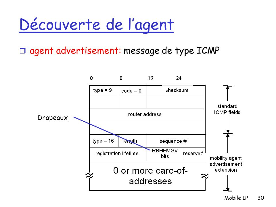 Découverte de l'agent agent advertisement: message de type ICMP
