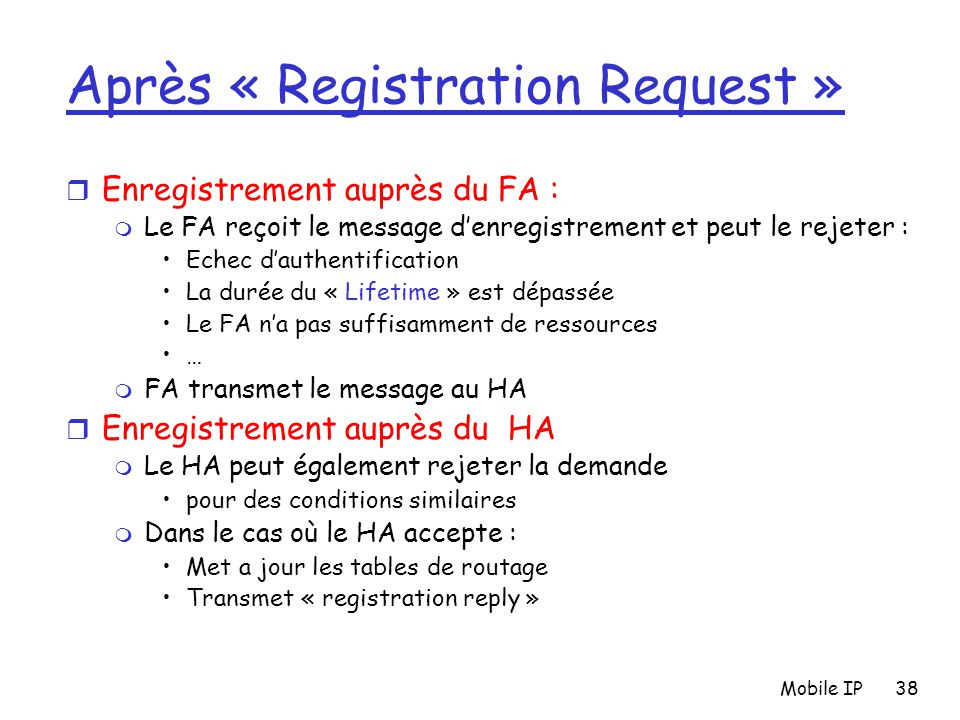 Après « Registration Request »