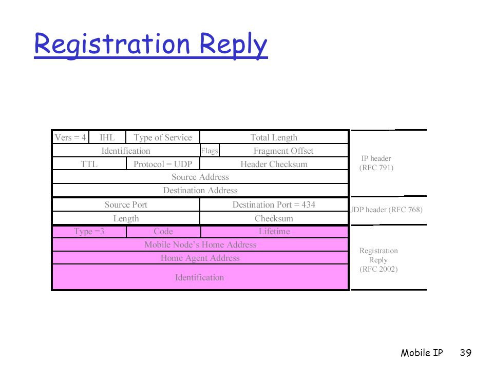 Registration Reply Mobile IP