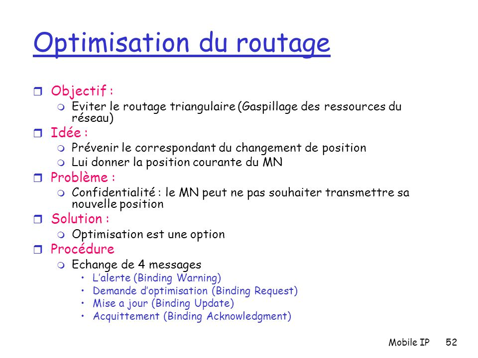 Optimisation du routage