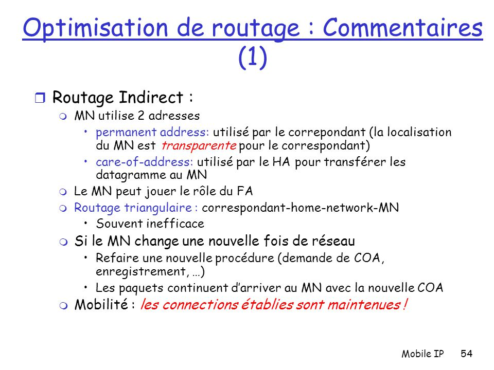 Optimisation de routage : Commentaires (1)