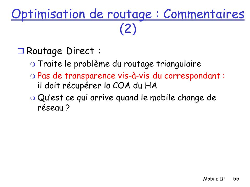 Optimisation de routage : Commentaires (2)