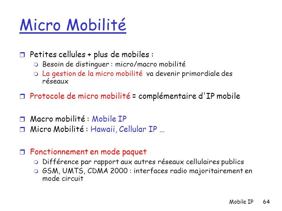 Micro Mobilité Petites cellules + plus de mobiles :