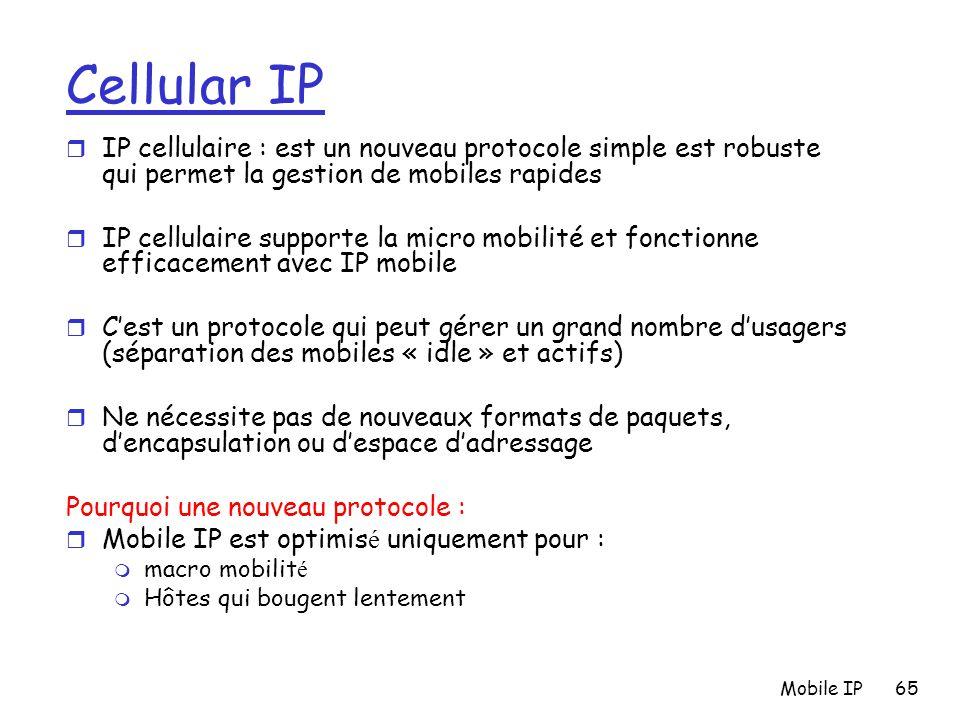Cellular IP IP cellulaire : est un nouveau protocole simple est robuste qui permet la gestion de mobiles rapides.