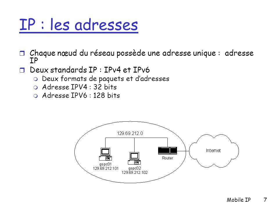 IP : les adresses Chaque nœud du réseau possède une adresse unique : adresse IP. Deux standards IP : IPv4 et IPv6.