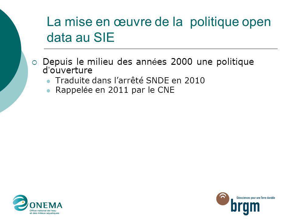 La mise en œuvre de la politique open data au SIE