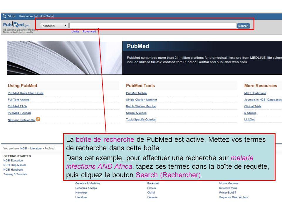 La boîte de recherche de PubMed est active