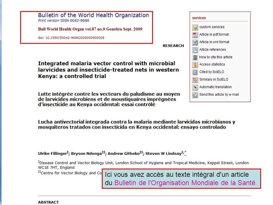 Ici vous avez accès au texte intégral d un article du Bulletin de l Organisation Mondiale de la Santé.