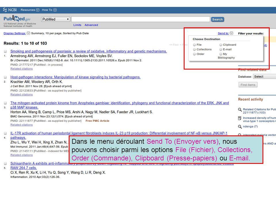 Dans le menu déroulant Send To (Envoyer vers), nous pouvons choisir parmi les options File (Fichier), Collections, Order (Commande), Clipboard (Presse-papiers) ou E-mail.