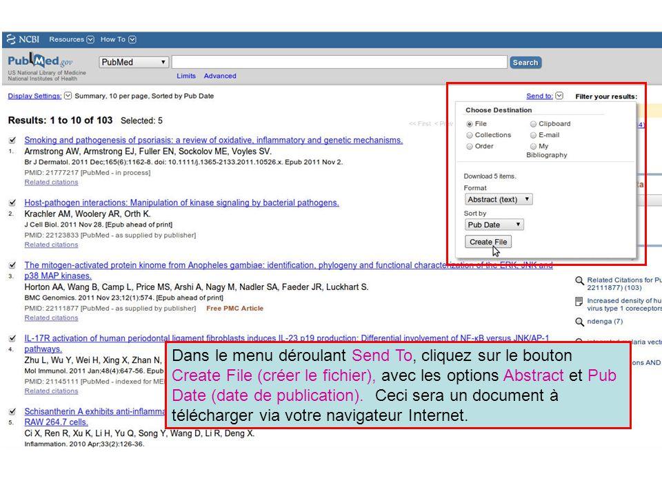 Dans le menu déroulant Send To, cliquez sur le bouton Create File (créer le fichier), avec les options Abstract et Pub Date (date de publication).