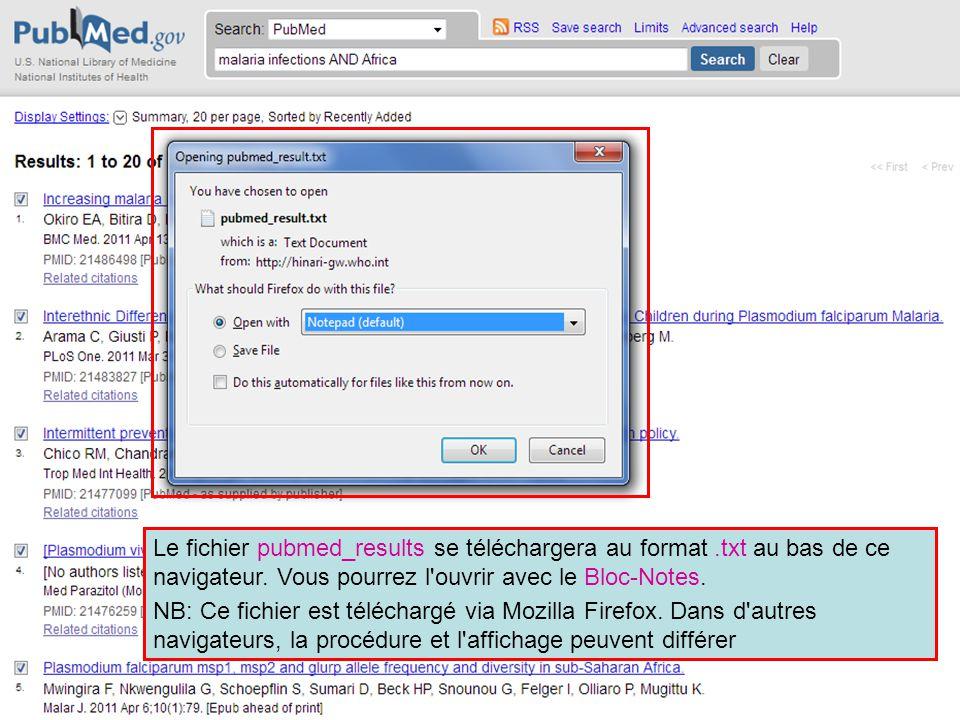 Le fichier pubmed_results se téléchargera au format