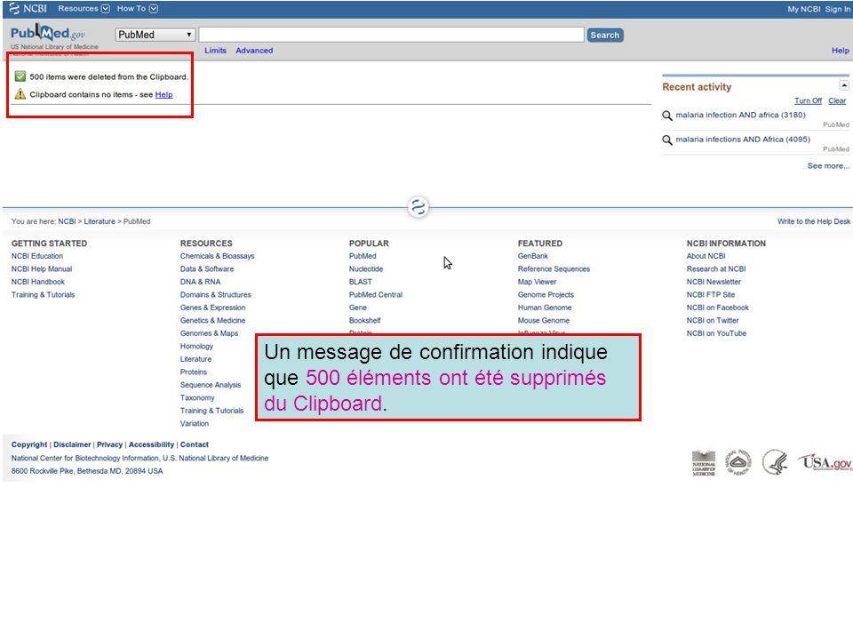 Un message de confirmation indique que 500 éléments ont été supprimés du Clipboard.