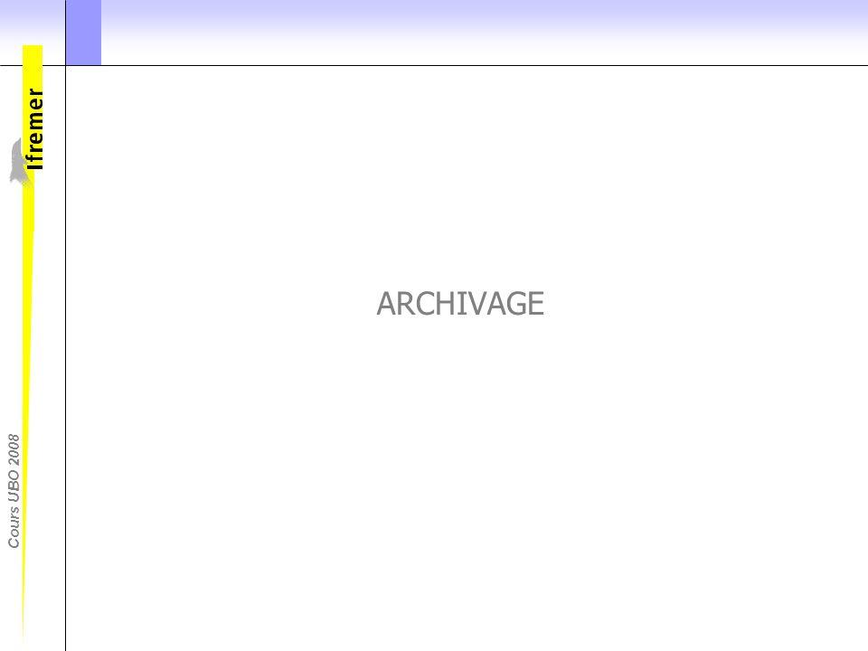 ARCHIVAGE Une fois qualifiées et traitees, les donnees vont pouvoir etre archivees.