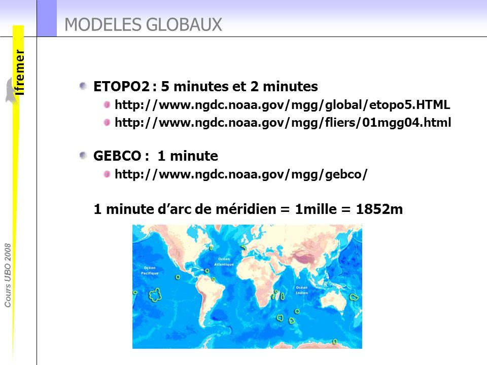 MODELES GLOBAUX ETOPO2 : 5 minutes et 2 minutes GEBCO : 1 minute