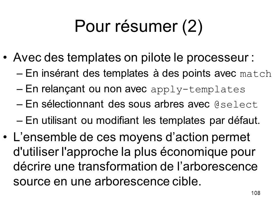 Pour résumer (2) Avec des templates on pilote le processeur :