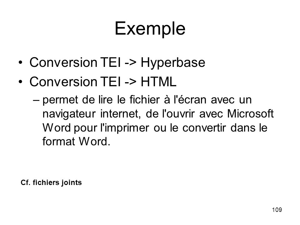 Exemple Conversion TEI -> Hyperbase Conversion TEI -> HTML