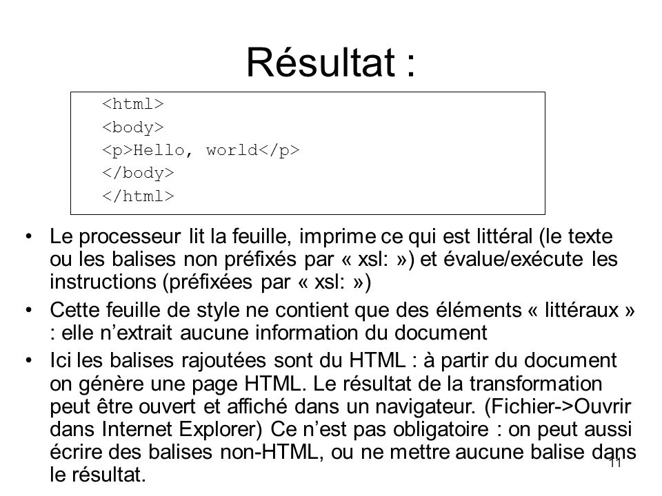 Résultat : <html> <body> <p>Hello, world</p> </body> </html>