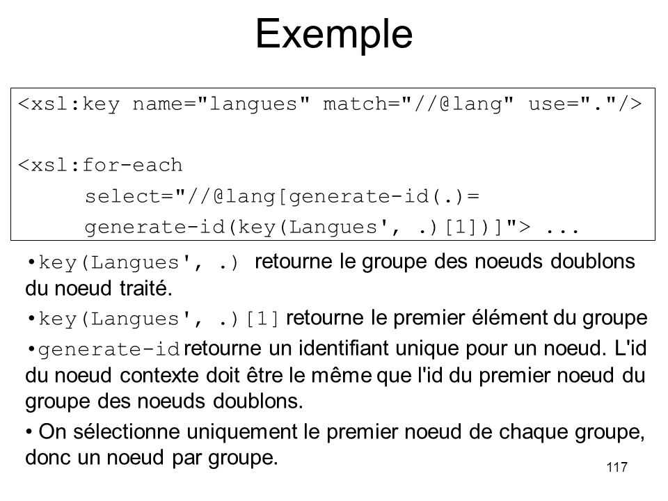 Exemple <xsl:key name= langues match= //@lang use= . />