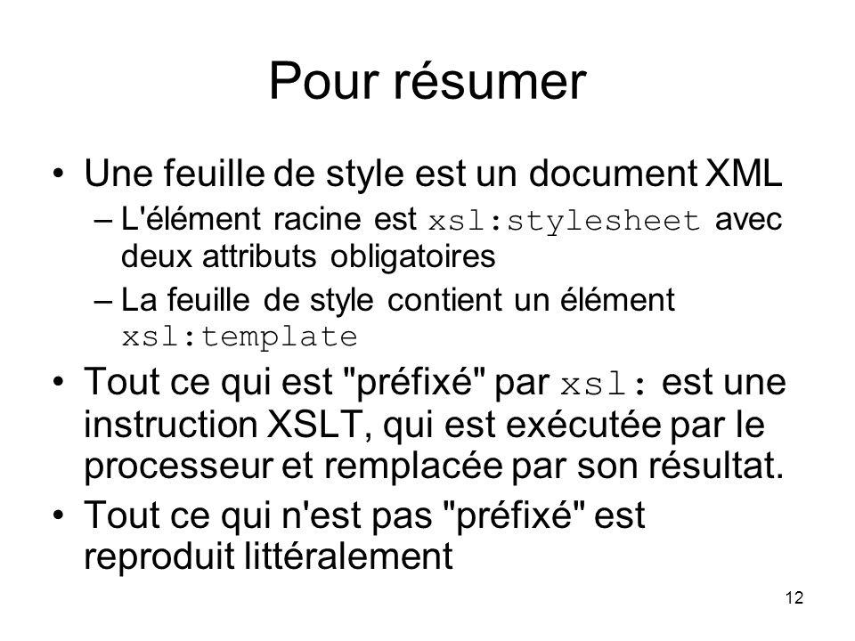 Pour résumer Une feuille de style est un document XML